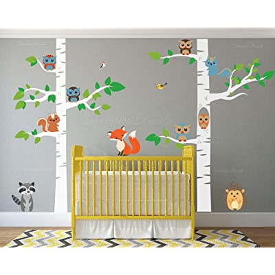 """Birch Tree Wall Decal Forest with Owl Birds Squirrels Fox Porcupine Racoon Vinyl Sticker Woodland Children Decor Removable #1327 (96"""" (8ft) Tall, White Trees): Home Improvement"""