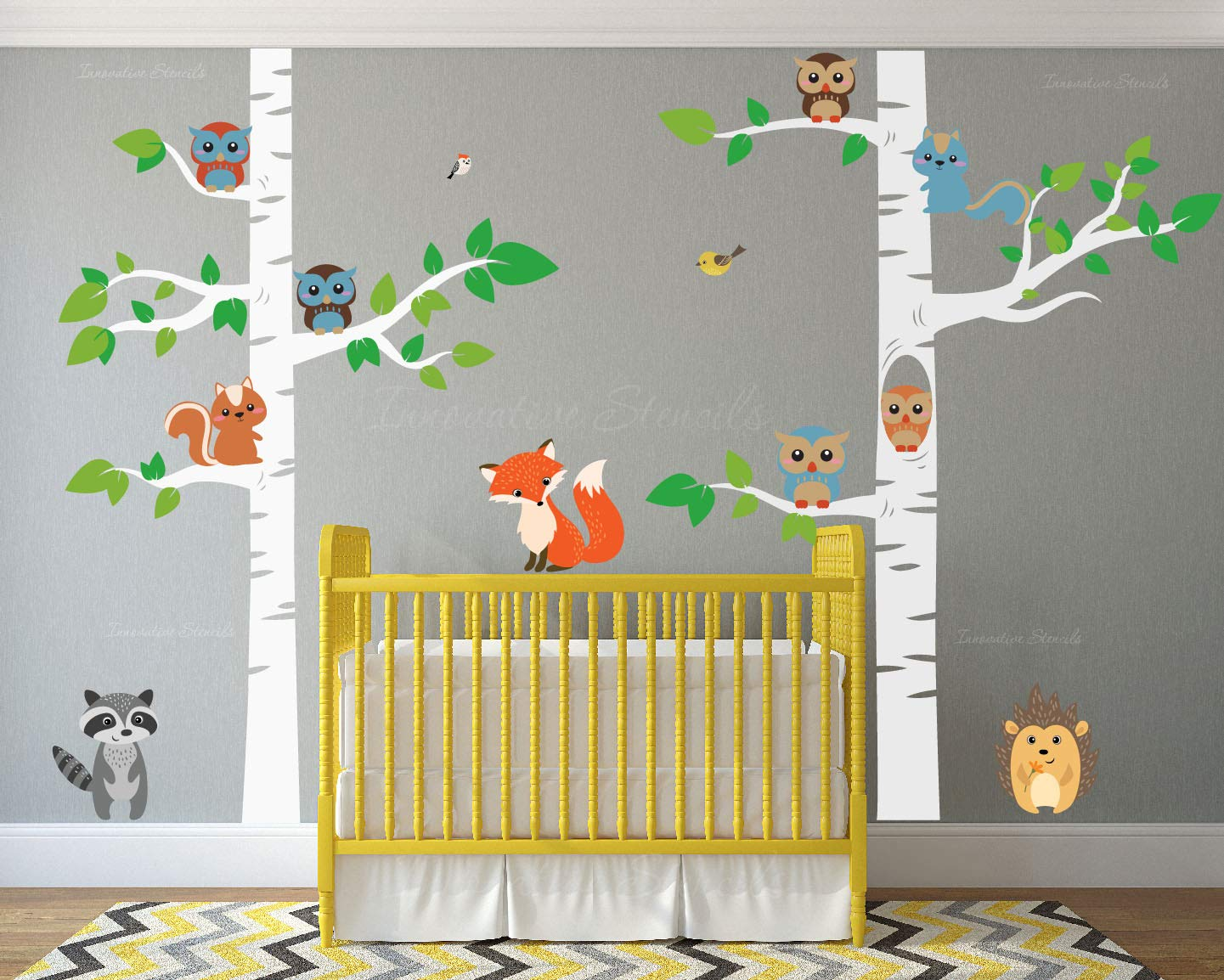 Birch Tree Wall Decal Forest with Owl Birds Squirrels Fox Porcupine Racoon Vinyl Sticker Woodland Children Decor Removable #1327 (96'' (8ft) Tall, White Trees) by Innovative Stencils