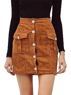 Terryfy Damen Minirock Elegant A-Linie Kurz Rock High Waist Skirt mit  Taschen 6c1eee51dc
