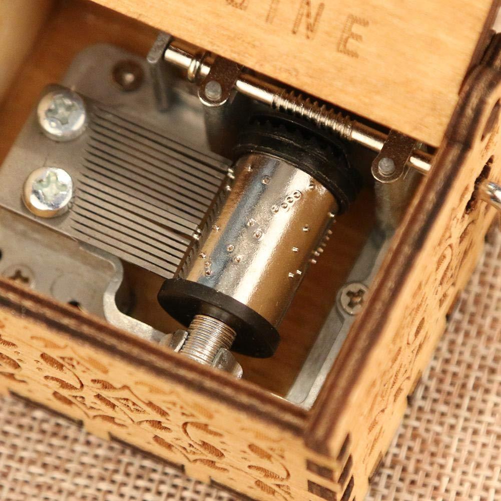 akaddy Antique Wooden Music Box Hand Cranked Musical Box Gift La vie en rose