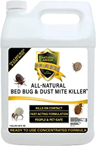 Bed Bug & Dust Mite Killer Natural Spray Treatment for Mattresses, Covers, Carpets & Furniture - Fast Extended Protection. Pet & Kids Safe - No Toxins or Chemicals 128 oz Gallon Refill