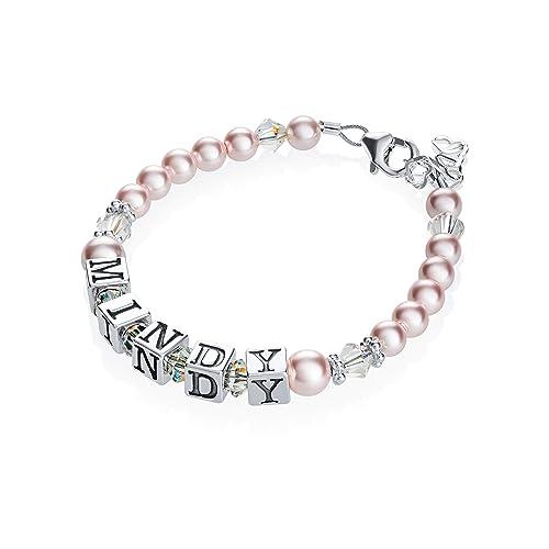 2963d9c1f4f3 Cristal sueño personalizado nombre de plata de ley con cristal de Swarovski  color rosa bebé pulsera