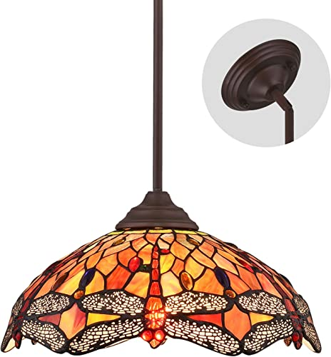 ELUZE Tiffany Style Dragonfly 2-Light Pendant Lighting Vintage Ceiling Light Fixtures with 16 inch Stained Glass Shade Tiffany Multicolored Chandeliers for Kitchen Island Dining Room Bedroom Living