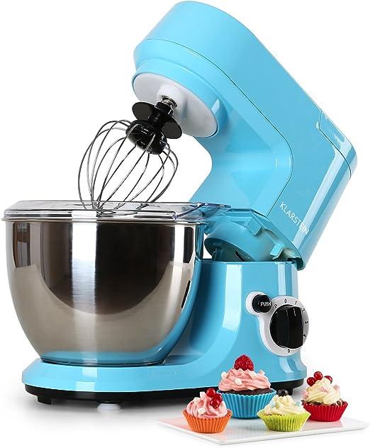 Klarstein Carina Azzura robot de cocina (1.1 HP, bol de acero inoxidable de 4 l, 3 accesorios para batir y amasar) - azul: Amazon.es: Hogar