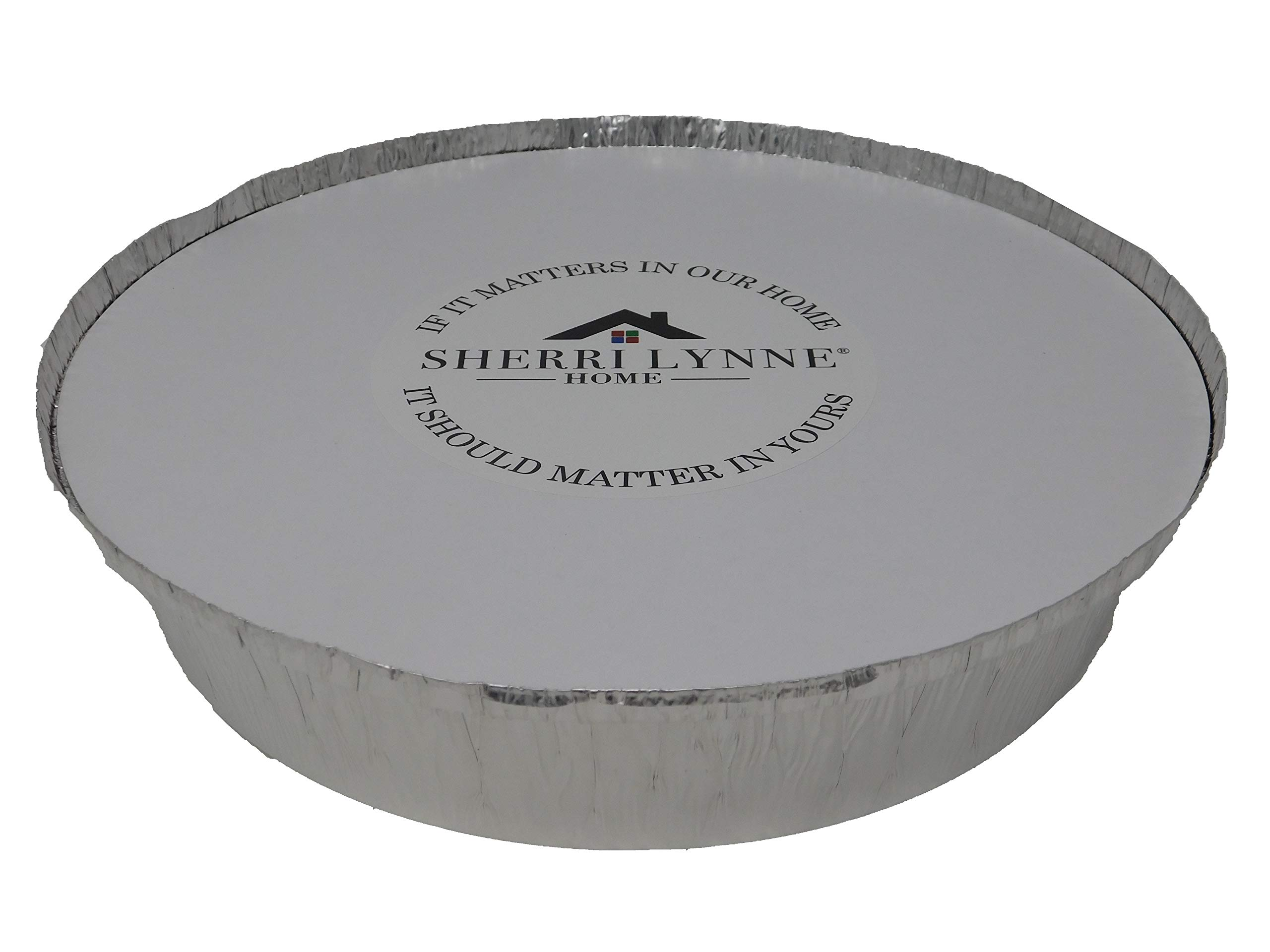 Sherri Lynne Home Round Pans - 9'' Disposable Aluminum Foil Pans With Board Lids, for Baking, Roasting, Broiling, and Cooking, 9 X 1.75 Inches, Popular Pan Size for Baking Cakes and Quiches, Pack of 25