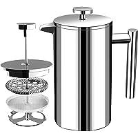 Franse Koffiepers - Dubbelwandige 100% Roestvrij Staal - 1000 ml/ 1 Liter (32 Oz) - door KICHLY (zilver)