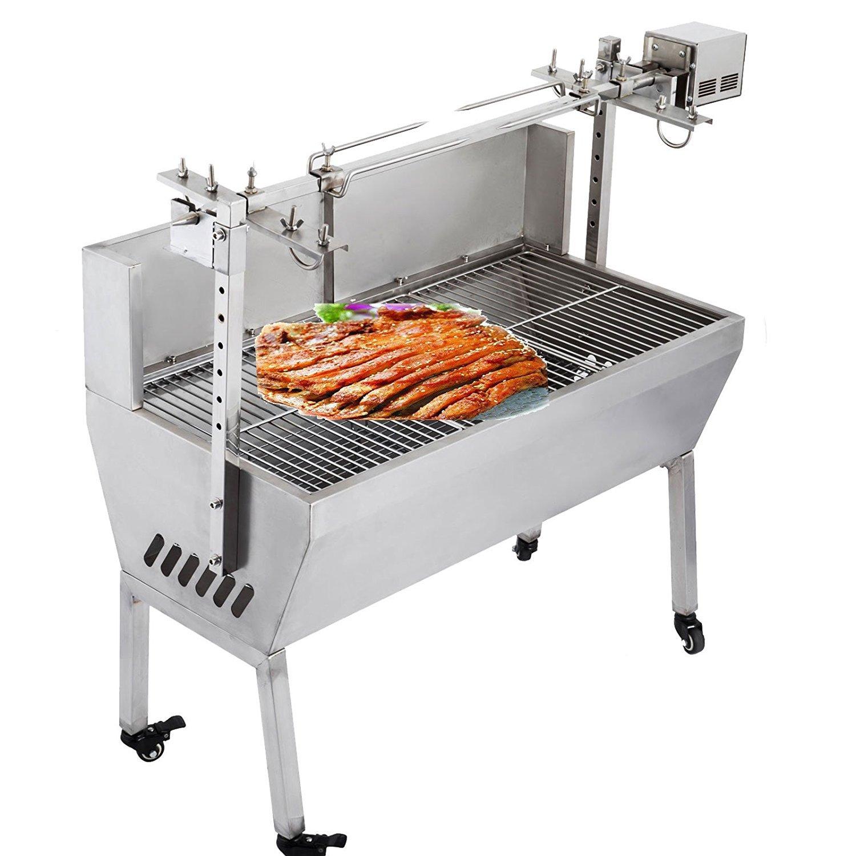 OrangeA 132 Lbs BBQ Pig Lamb Rotisserie Roaster Skewer Roast Grill Motor 23W 110V