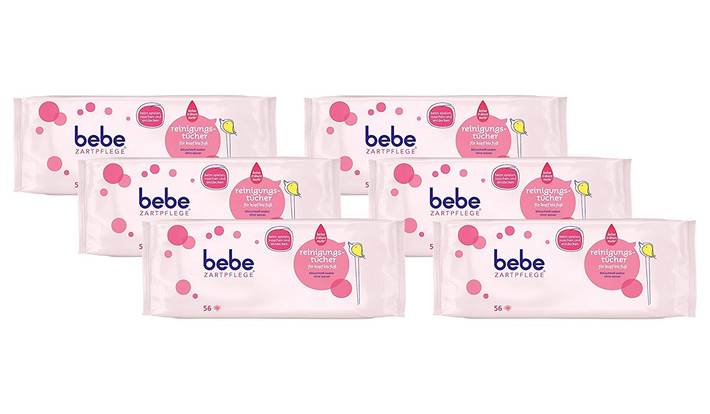bebe Zartpflege Milde Reinigungstücher für Kopf bis Fuß/Pflegende Feuchttücher für Kinder / 6 x 56 Stück 03650