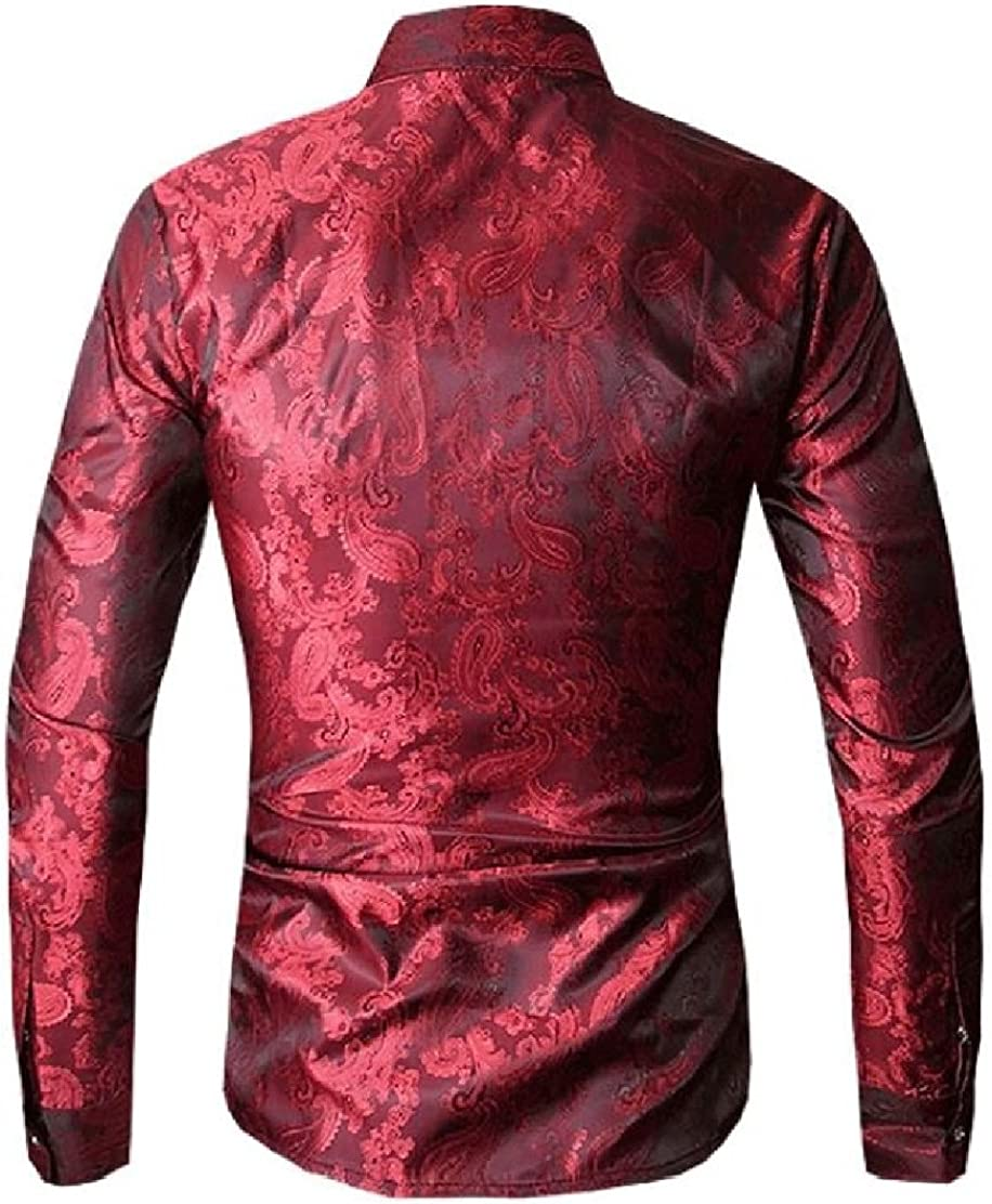 UUYUK Men Gentlemen Regular Fit Lapel Long Sleeve Button Up Print Shirt