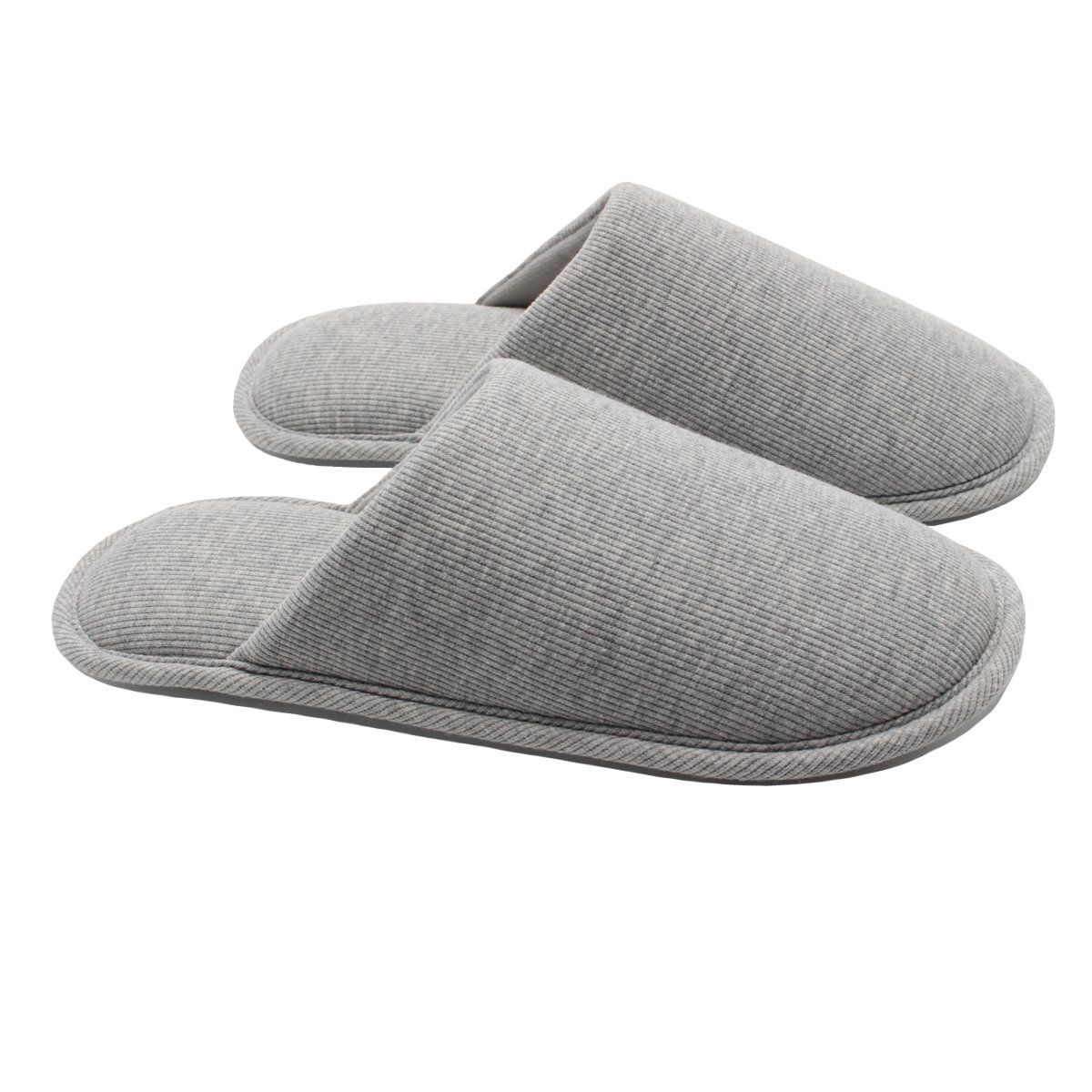 Ofoot Men's Cozy Thread Cloth Organic Cotton House Slippers, Washable Flat Indoor/Outdoor Slip on Shoes