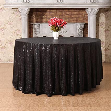 ce53e753a842 Amazon.com  PartyDelight 120 inches Round Black Sequin Tablecloth for  Wedding