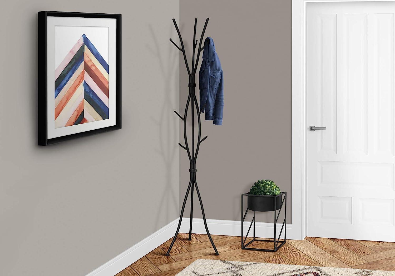 Monarch Specialties Coat Rack Coat Tree With 8 Hooks Hammered Metal 74 H Black Furniture Decor