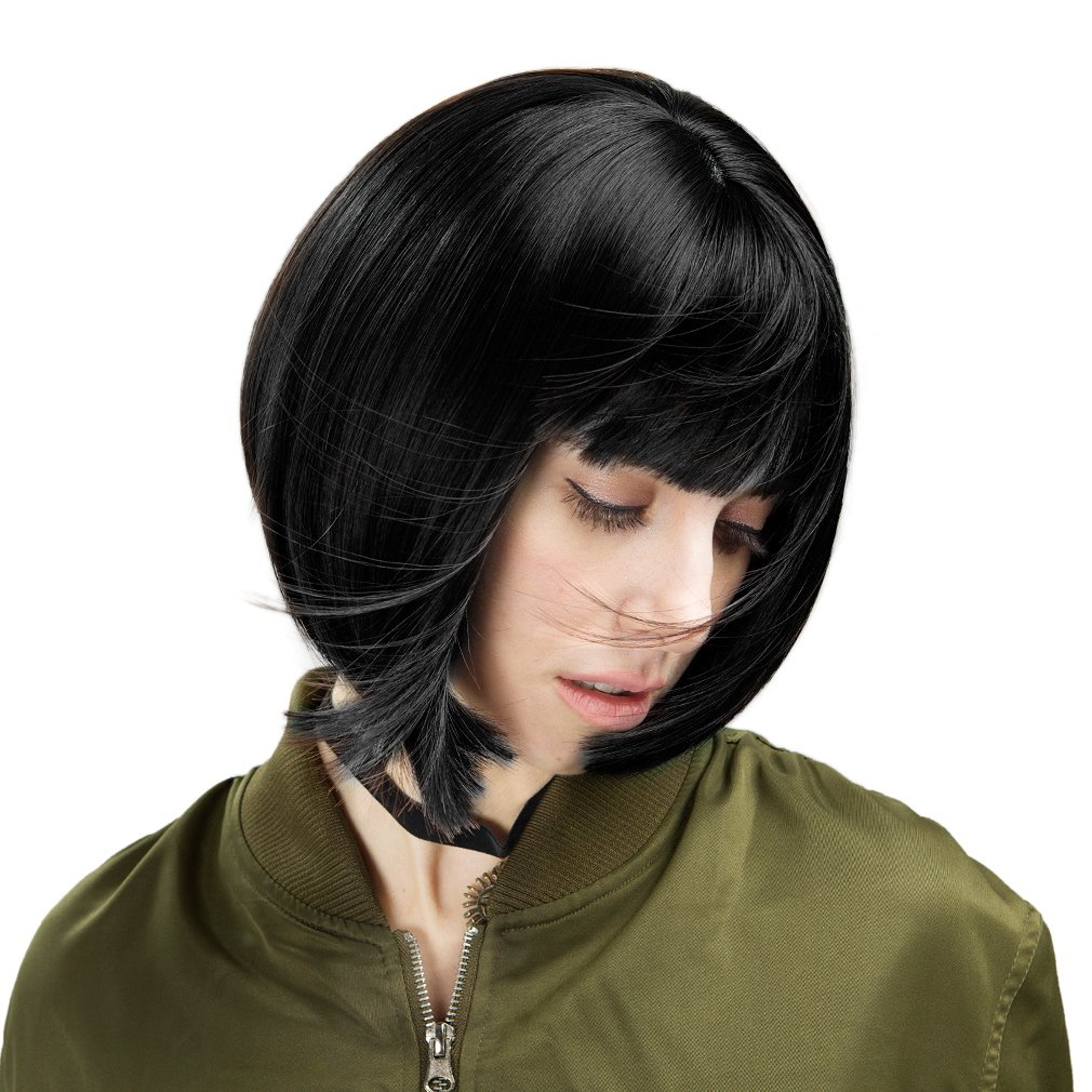 11'' Short Bob Wig with Bangs Synthetic Hair for White Black Women (Black)