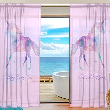 Amazon Com Zoeo 2 Piece Unicorn Sheer Curtains Window Door Curtains