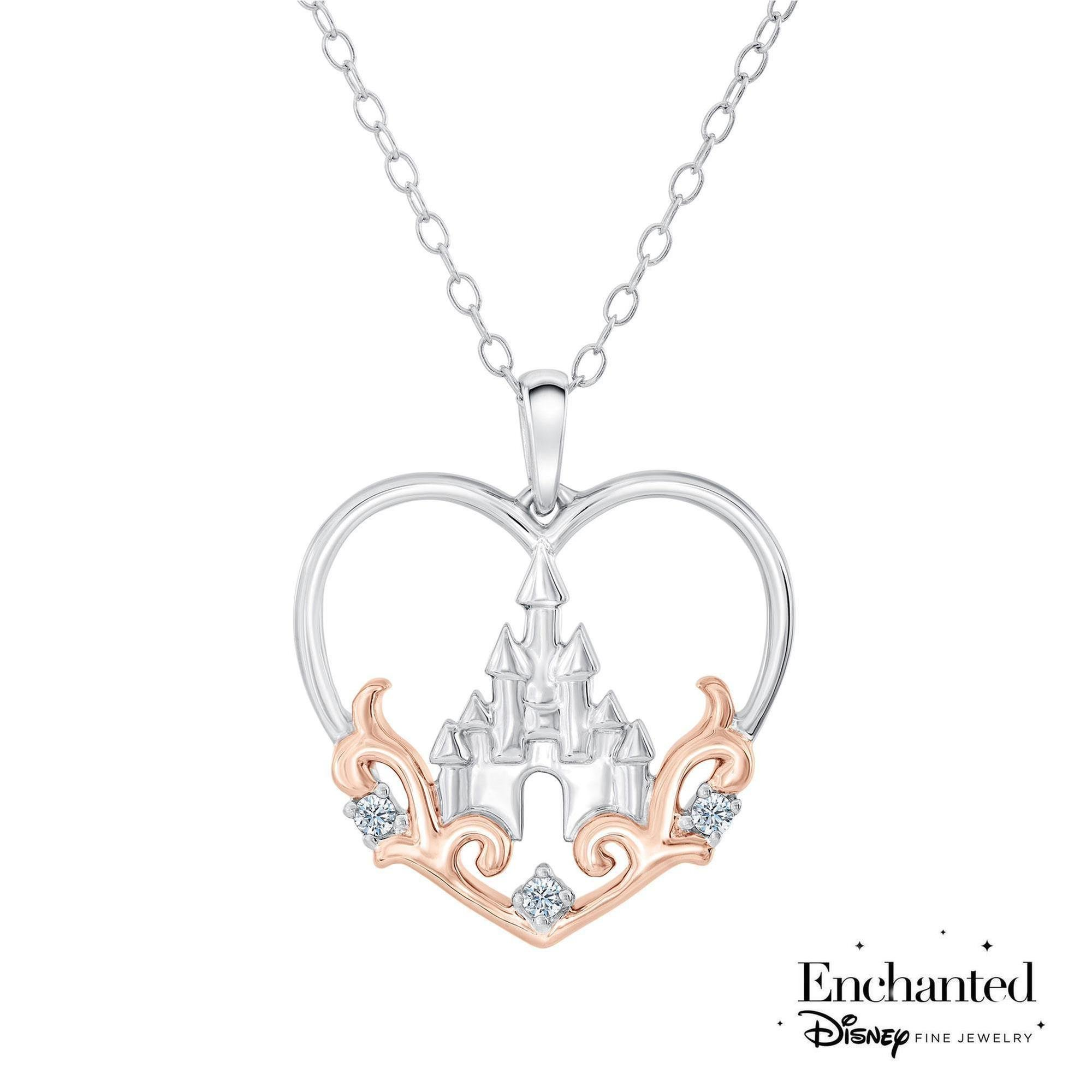 Enchanted Disney Princess Castle Diamond Heart Pendant 1/20ctw