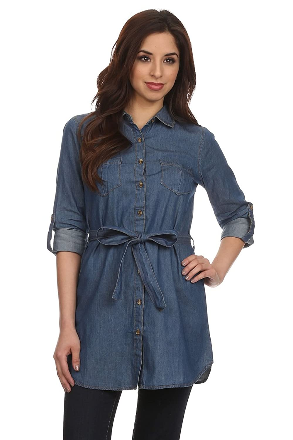 Noble U Womens Denim Button Up Tunic Shirt With Adjustable Sleeves