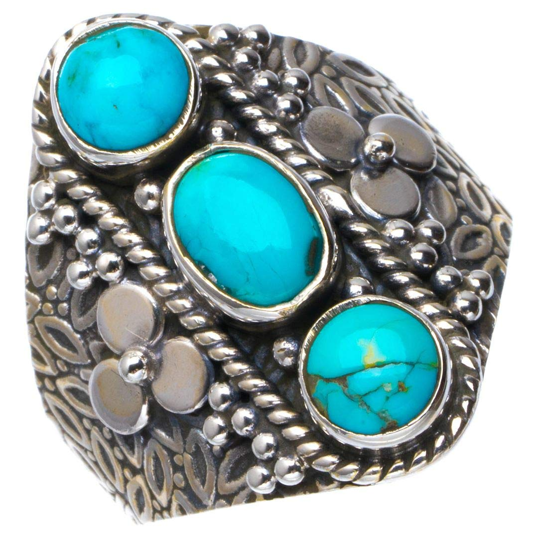 Natural Turquoise Handmade Unique 925 Sterling Silver Ring 8.25 B1398