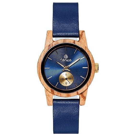 TENSE//La Madera Reloj – Womens Leather Hampton Zebrano) – Esfera Azul –