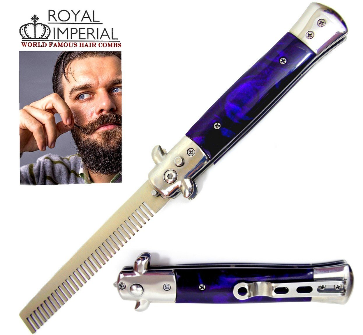 Royal Imperial Metal Switchblade Pocket Folding Flick Hair Comb For Beard, Mustache, Head PURPLE THUNDER Handle ~ INCLUDES Beard Fact Wallet Book ~ Nicer Than Butterfly Knife Trainer