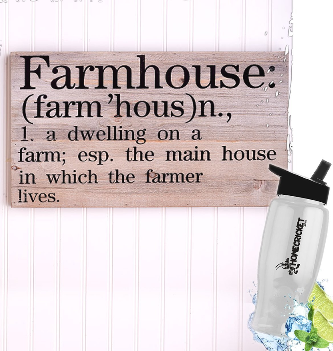 HomeCricket Gift Included- Country Farmhouse Wall Decor Wooden Wall Art Plaque + FREE Bonus Water Bottle by Home Cricket