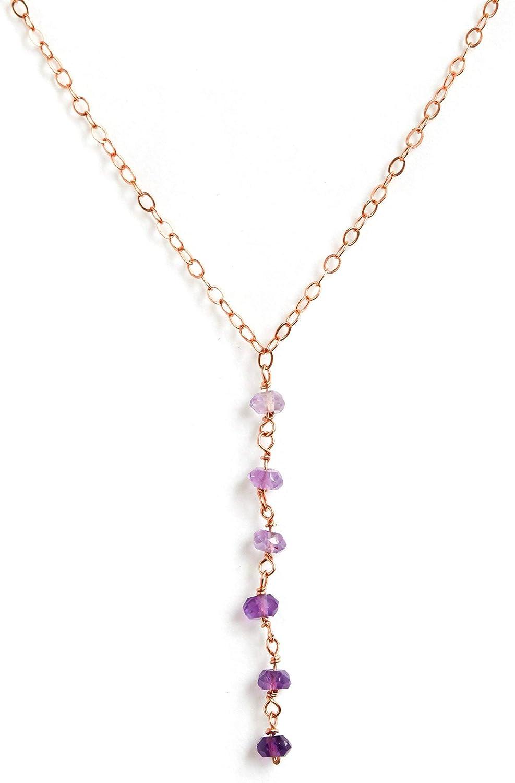 Genuine Amethyst Necklace,February Birthstone Necklace,Dainty Beaded Necklace,Amethyst Necklace,Sterling Silver,14 k Gold,Rose Gold Filled