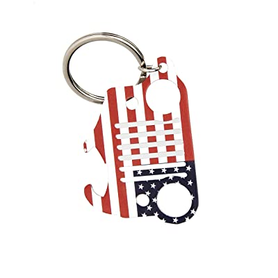 EVAPLUS Car Key Chain Key Ring with Bottle Opener for Jeep Wrangler Accessories Enthusiasts-Jeep Front Grille Design and Stainless Steel Material American Flag: Automotive