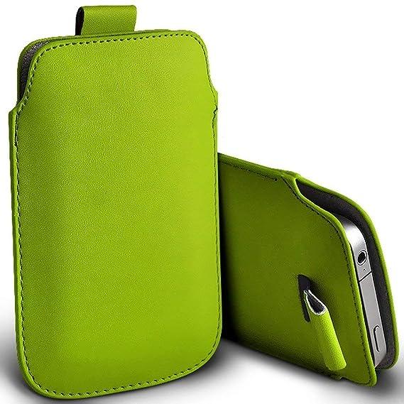 I-Sonite (Green) Premium Slip In Pull Tab Sleeve Faux Ledertasche Für Doogee Y6 Piano Black [ XXL ]