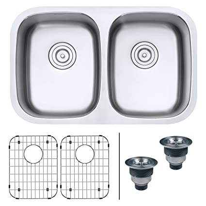 Ruvati 29 Inch Undermount 50/50 Double Bowl 16 Gauge Stainless Steel Kitchen  Sink
