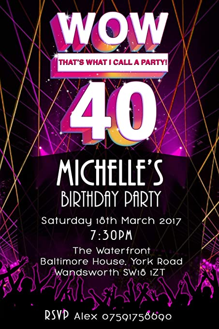 40th Birthday Party Invitations Envelopes Wow Pink