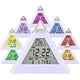 HAMSWAN Sveglia Orologio da Tavolo Allarme, Display con la Data e la Temperatura, Luce a Led variabile in 7 colori per Casa,Ufficio , scuola e viaggio