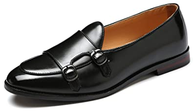 37260a215943 Men s Classic Plain Toe Leather Double Monk Strap Oxford Loafer Slip On  Driving Formal Dress Shoes