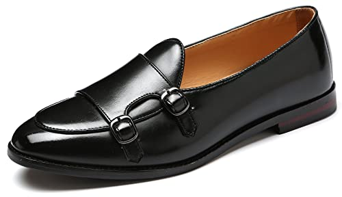 318db83112a NJiang Men's Leather Double Monk Strap Loafers Slip On Prom Monk Oxford  Business Formal Dress Shoes