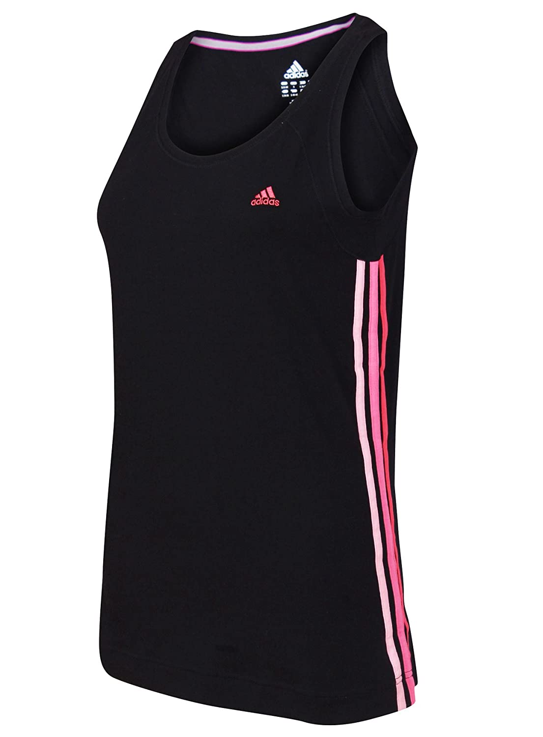 adidas Womens Ladies Performance Essentials 3S Black climalite Cotton Tank Top T-shirt Vest Tee X20800