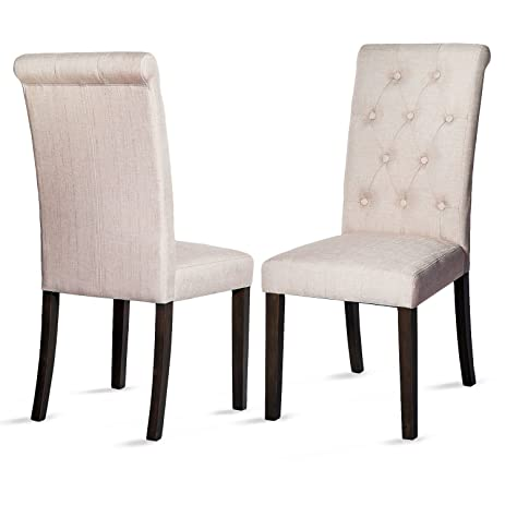 merax upholstered accent dining chair modern elegant armless chairs set of 2