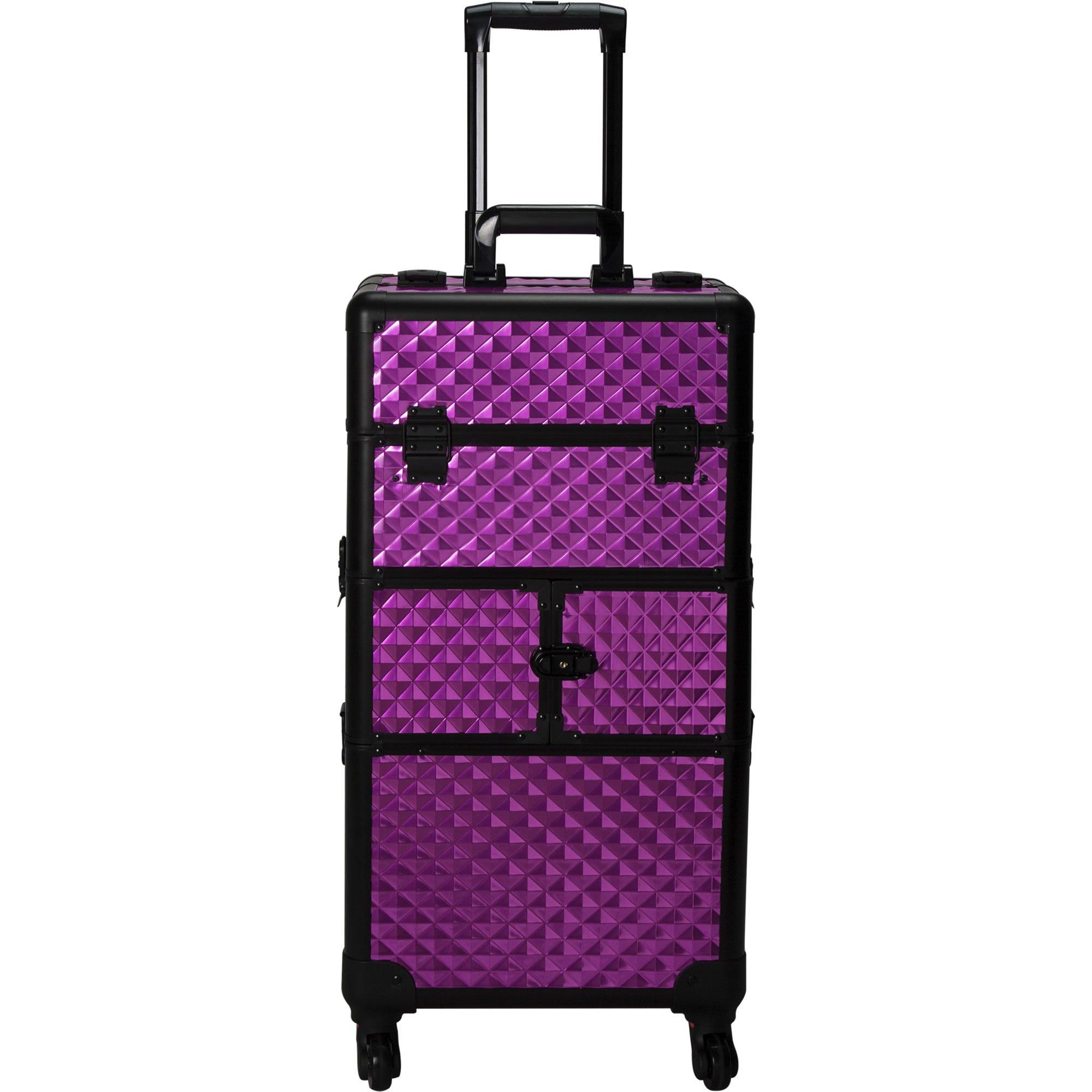 SUNRISE Hair Stylist Case I3164 Makeup Train Organizer, 4 Wheel Spinner, 10 Slide Trays, Locking with Mirror and Shoulder Strap, Purple Diamond
