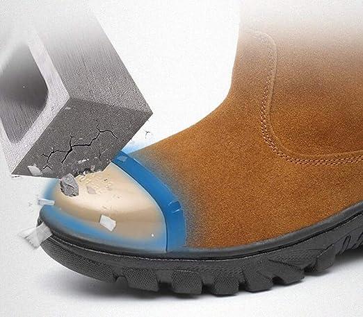 Adong Zapatos de Seguridad para Hombre de Alta Ayuda Gamuza Cosy Tobillo Botas de Acero de Alta Mano de Obra de Seguro de Trabajo Botas para Trabajadores de ...