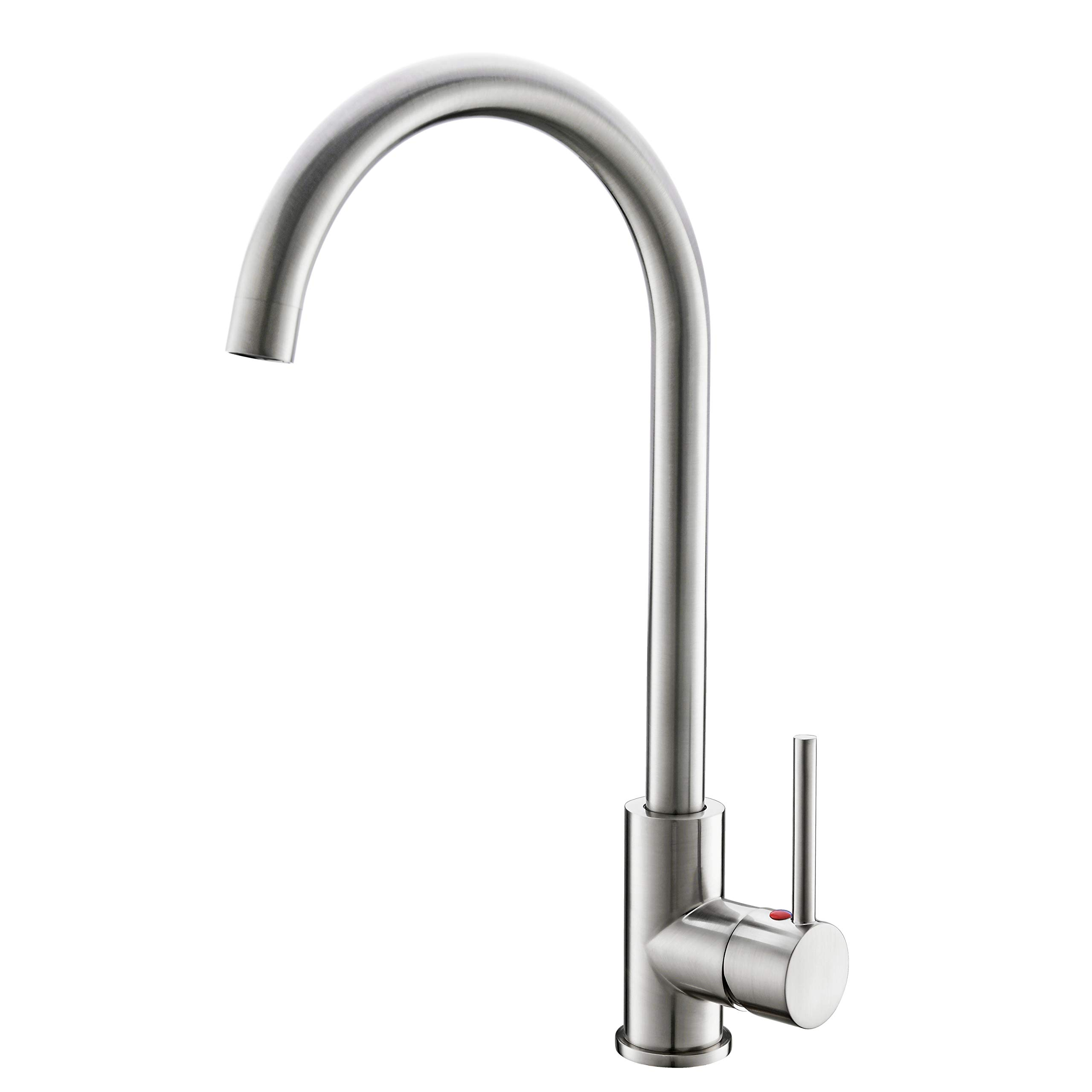 High Arch Kitchen Faucet Brushed Nickel, 360 Degree Swivel Spout Kitchen Sink Faucet Hot and Cold Water Mixer, Modern Lead-Free Commercial Bar Sink Faucet fit for 1 hole Single Handle Faucet Anti-Rust