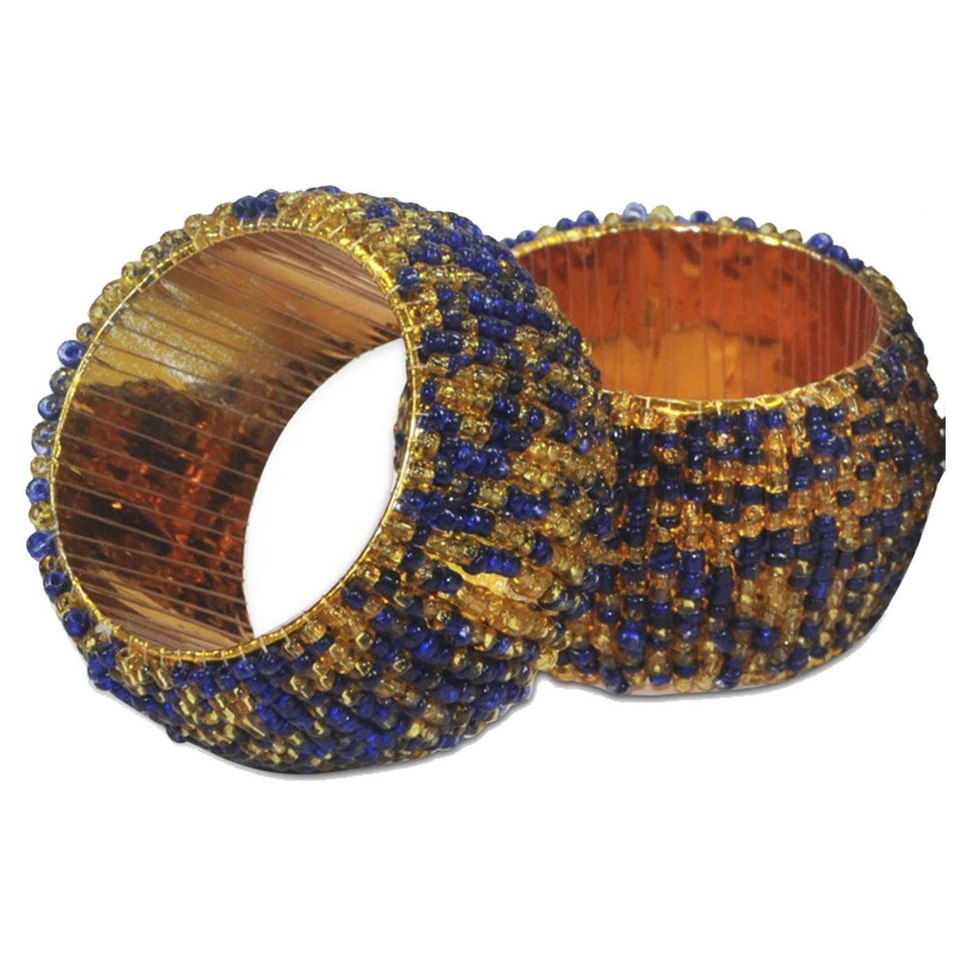(2) - DakshCraft Blue & Golden Beaded Napkin Rings - Set of 2, Table Accessories Item & Perfect for Dining Decor - Dia - 3.8cm 2  B01I31TNHS