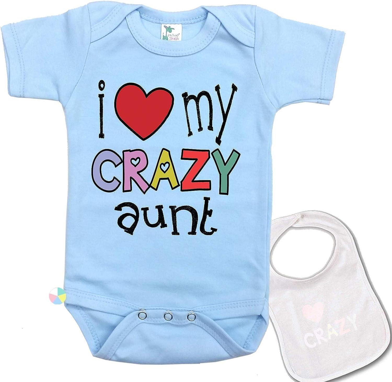 I Love My Crazy Aunt Unique Custom Unisex Baby Bodysuit Onesie & Matching bib