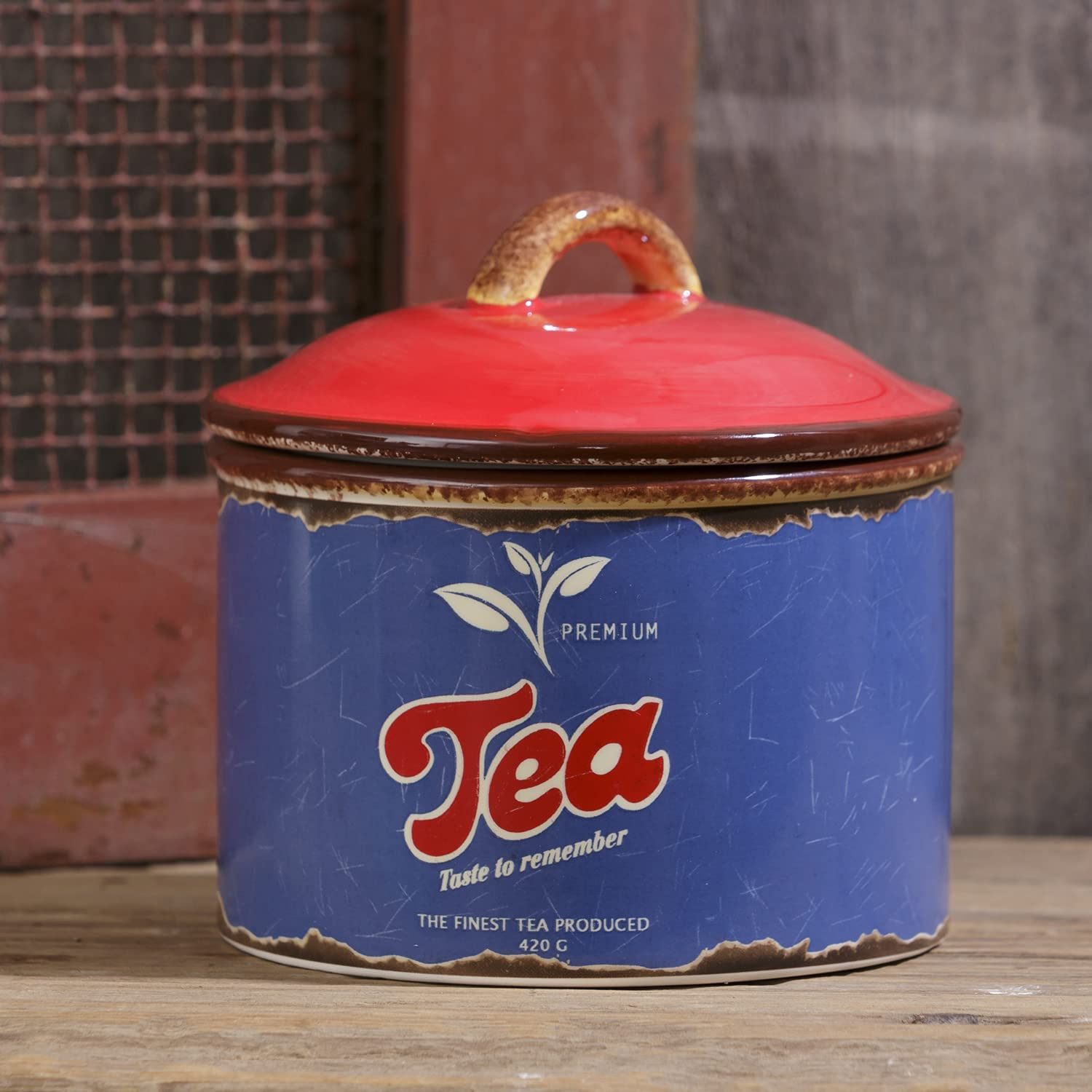 Decorative 5.5-Inch Vintage Ceramic Tea Canister with Lid - Retro Farmhouse Tea Container Jar - Rustic Country Farmhouse Kitchen Counter Storage Coffee Bar Accessory for Home Decor