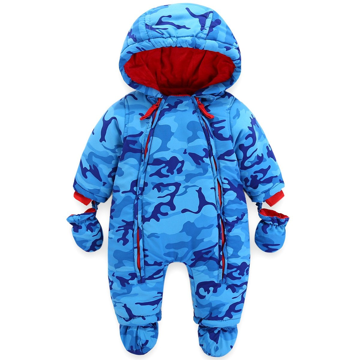 JiAmy Baby Winter Hooded Romper Snowsuit with Gloves Booties Cotton Jumpsuit Outfits for 3-24 Months