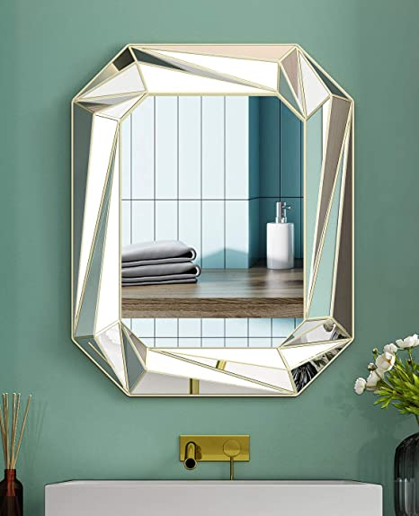 Modern Geometric Wall Mirror Art Silver Mirror Wall Decor Wall Mounted Mirrors For Bathroom Bedroom Living Dining Room 24x30 Inch Kitchen Dining