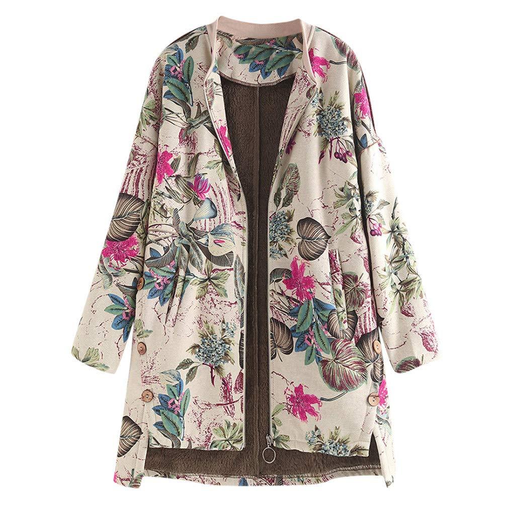 Moda Vintage C/álido Suave Retro Floral Estampado Manga Larga Abrigos con Bolsillo Showsing-Women Ropa de Mujer Vintage Outwear Mujer Invierno C/álido Outwear