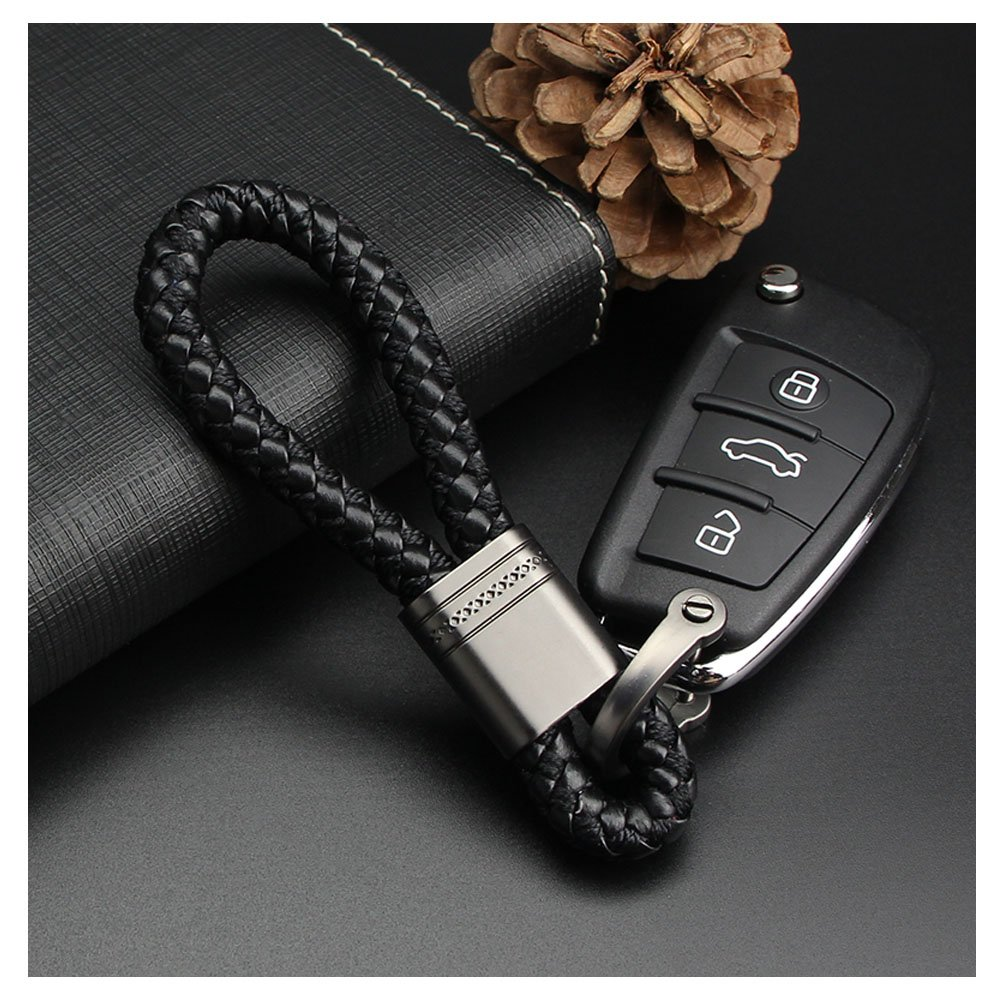 Qiaoxi Car Key Acorn Woven Leather of Metal Long Key Chain Ring Grip Strap for BMW Porsche Mercedes Cadillac Lexus Ford Toyota VW Honda Chevrolet Dodge Jaguar Land Rover