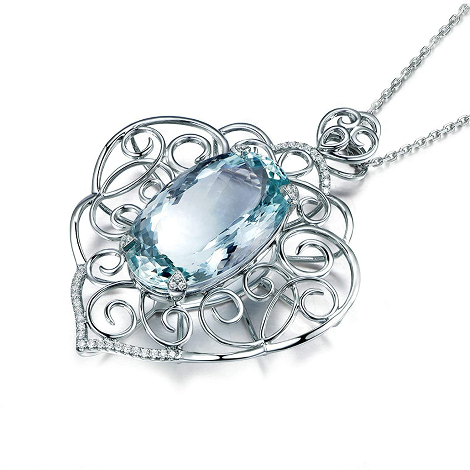 Beydodo Sterling Silver Necklace for Women Hollow Filigree Pendant Oval Topaz Necklaces for Wedding Party