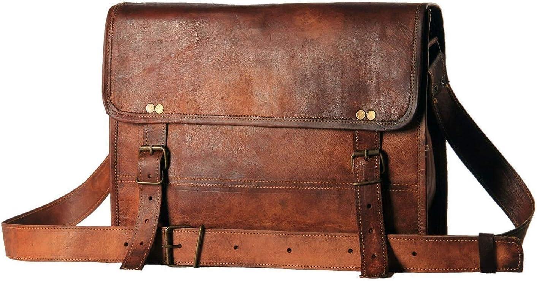 "Leather bag 13"" Inch Men's Genuine Leather Messenger College Macbook Air Pro Laptop Ipad Tablet Office Briefcase Satchel Bag"
