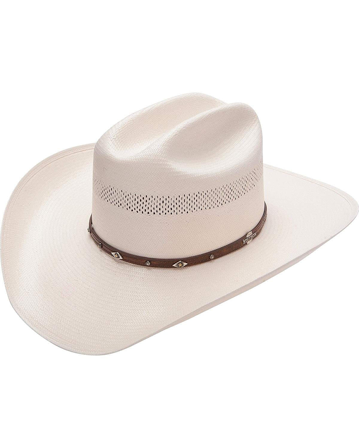 c0f4c4f6ecdc6 Stetson Men s Lobo 10X Straw All-Around Vent Star Concho Band Cowboy Hat at  Amazon Men s Clothing store
