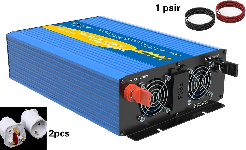 Solinba Power Inverter 2000W Pure Sine Wave Off Peak 4000 W Convertidor DC24v a AC230v 50Hz