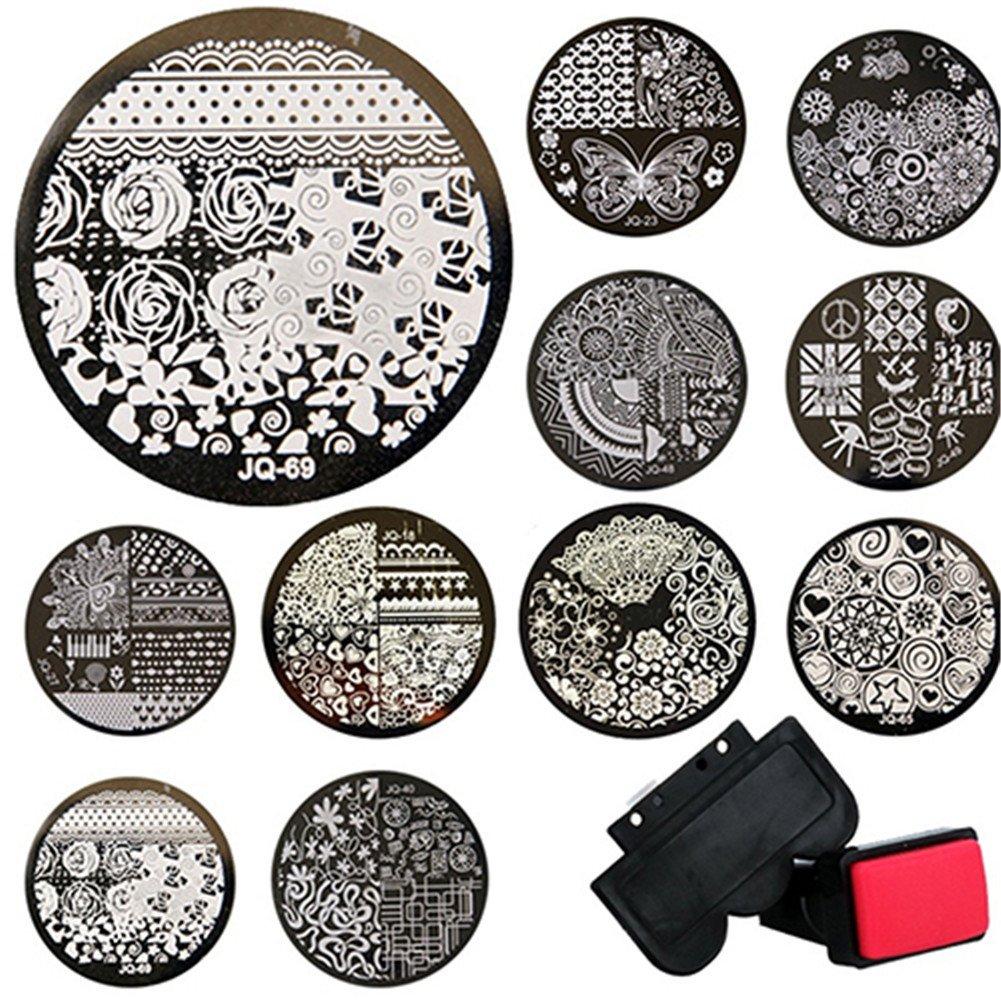 Birdsound 10 Pcs Round Metal Plates +Stamper+Scraper Stamping Kits DIY Nail Tools
