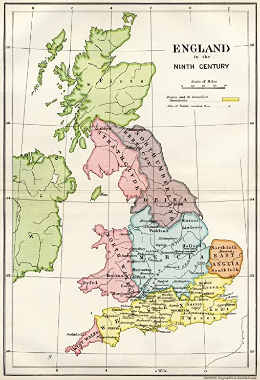 9th Century England Map Amazon.com: Posterazzi Map Of England In The Ninth Century From A